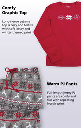 Long-sleeve pajama top is cozy and festive with soft jersey and winter-themed print. Full-length jersey PJ pants are comfy and fun with repeating Nordic print. image number 3