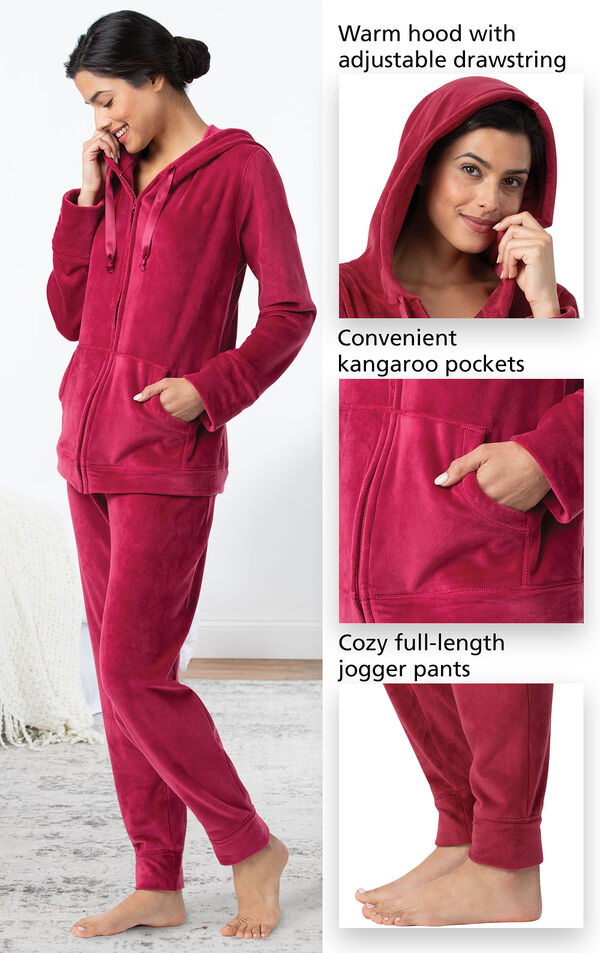 Tempting Touch Zip-Front Hoodie PJs feature a warm hood with adjustable drawstring, convenient kangaroo pockets and cozy full-length jogger pants image number 4