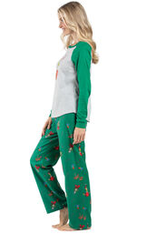 Model wearing Green and Gray Grinch PJ for Women, facing to the side image number 2