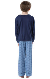 Model wearing Blue Geometric Pattern PJ for Youth, facing away from the camera image number 1