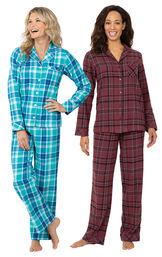 Burgundy and Wintergreen Plaid Boyfriend PJs Gift Set image number 0