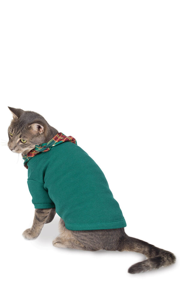 Model wearing Red and Green Christmas Tree Plaid PJ for Cats image number 0