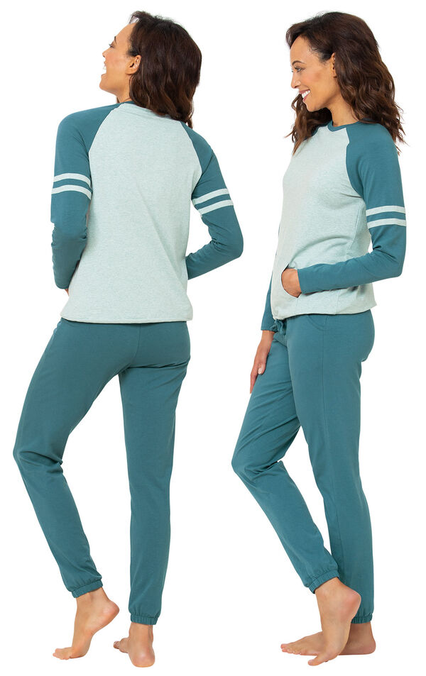 Model wearing Sunday Funday Pajamas - Teal, facing away from the camera and then to the side image number 1