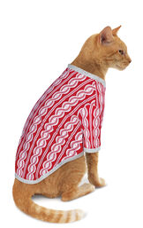 Model wearing Red and White Peppermint Twist PJ for Cats