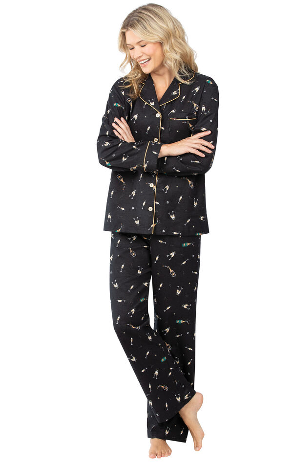 Model wearing Black Champagne Flannel Button-Front PJ for Women image number 0
