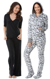 Models wearing Hoodie-Footie - Snow Leopard and Naturally Nude Pajamas - Solid Black.