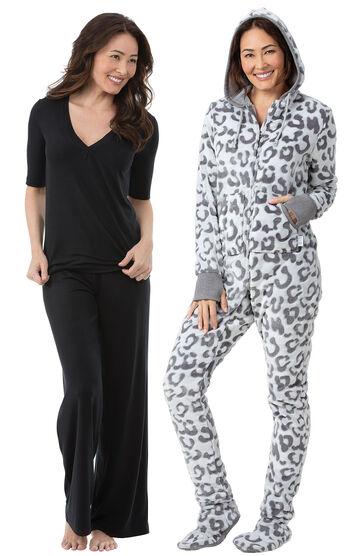 Black Naturally Nude PJs & Snow Leopard Hoodie-Footie™