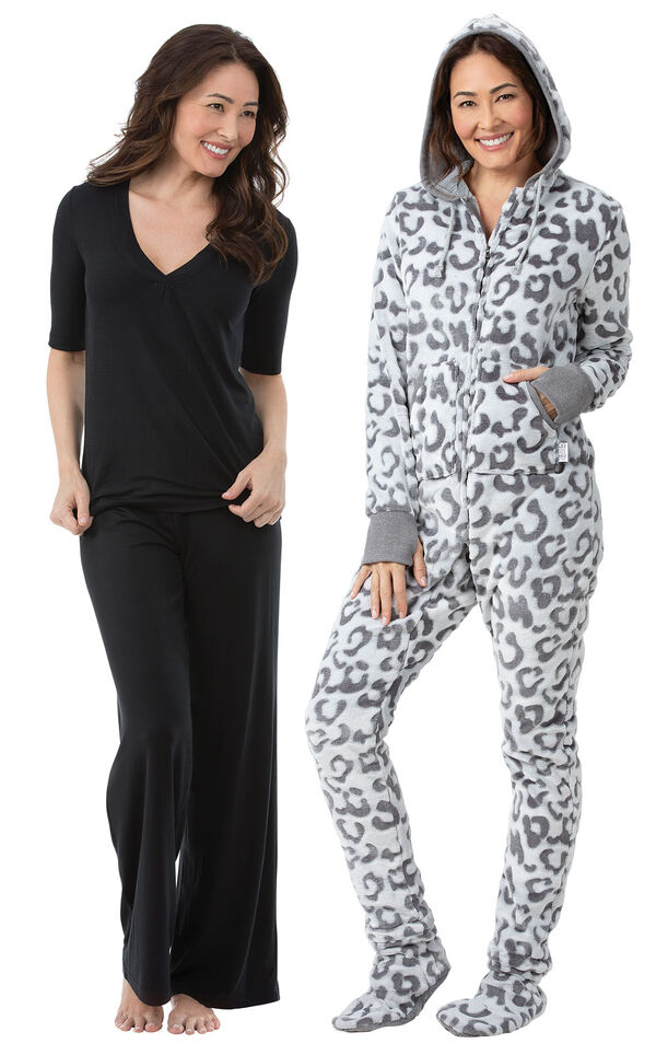 Models wearing Hoodie-Footie - Snow Leopard and Naturally Nude Pajamas - Solid Black. image number 0