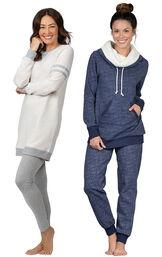 Models wearing Sporty Sweatshirt and Leggings PJ Set - Ivory/Gray and Solstice Shearling Rollneck Pajamas. image number 0