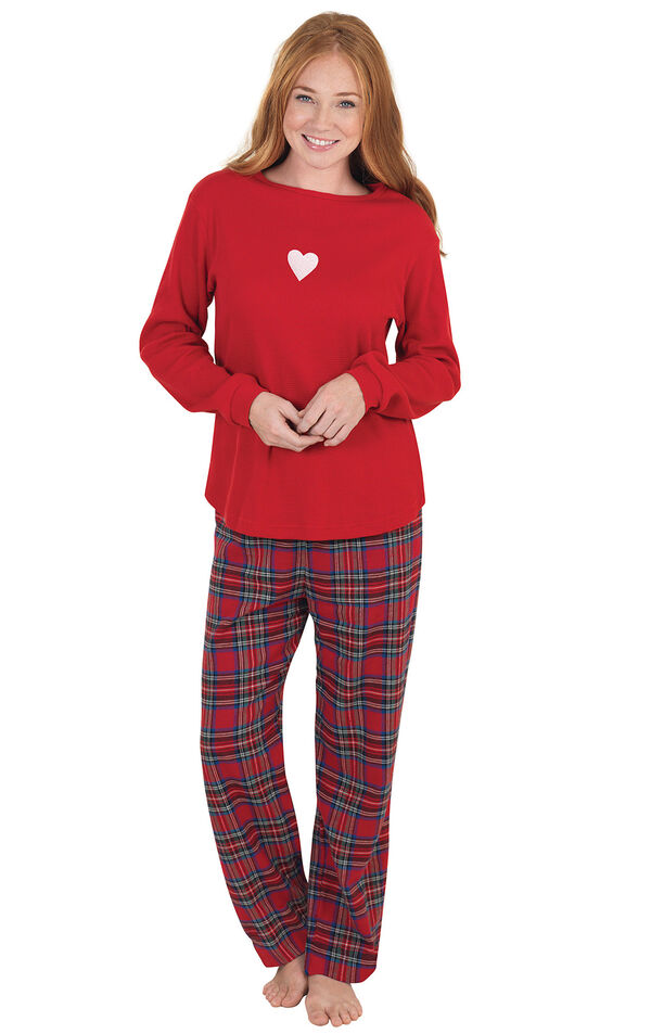 Model wearing Red Classic Plaid Thermal Top PJ with White Heart for Women image number 0