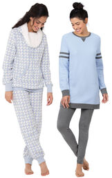Models wearing Sporty Sweatshirt and Leggings PJ Set - Blue/Gray and Snow Day Shearling Rollneck Pajama Set. image number 0
