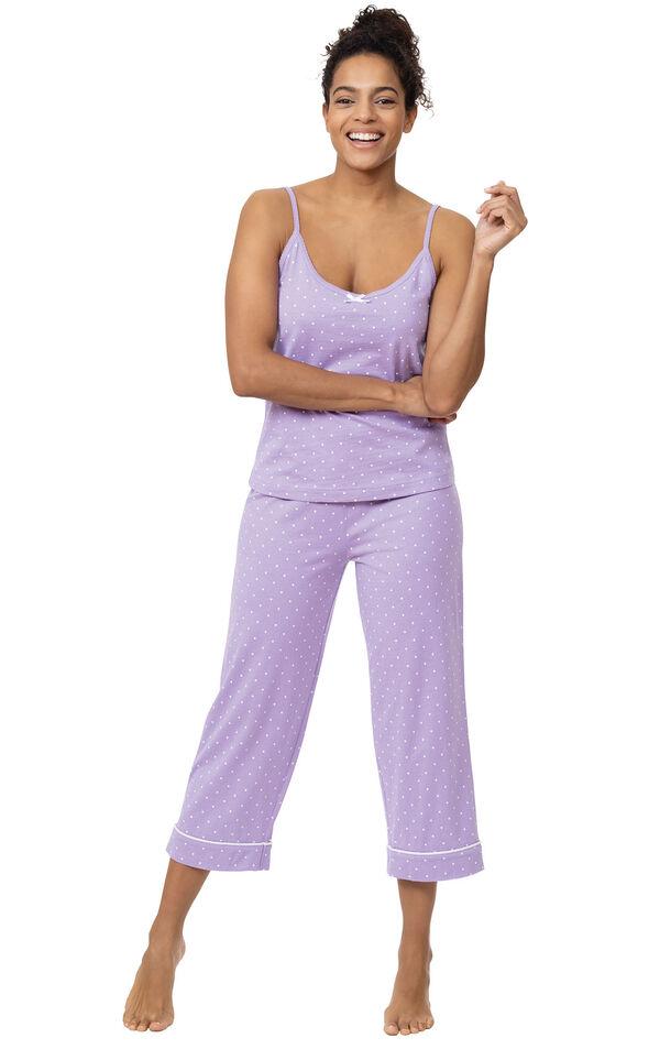 Model wearing Lavender with White Polka Dots Capri PJs for Women image number 0
