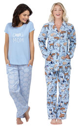 Models wearing Dog Mom Pajamas and Dog Tired Boyfriend Flannel Pajamas. image number 0