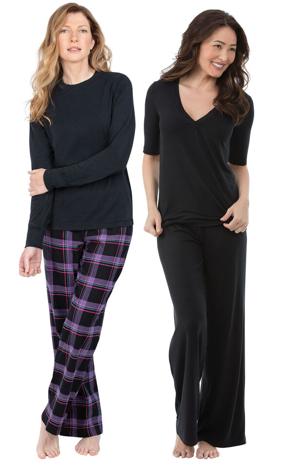 Models wearing Blackberry Plaid Jersey-Top Flannel Pajamas and Naturally Nude Pajamas - Solid Black. image number 0