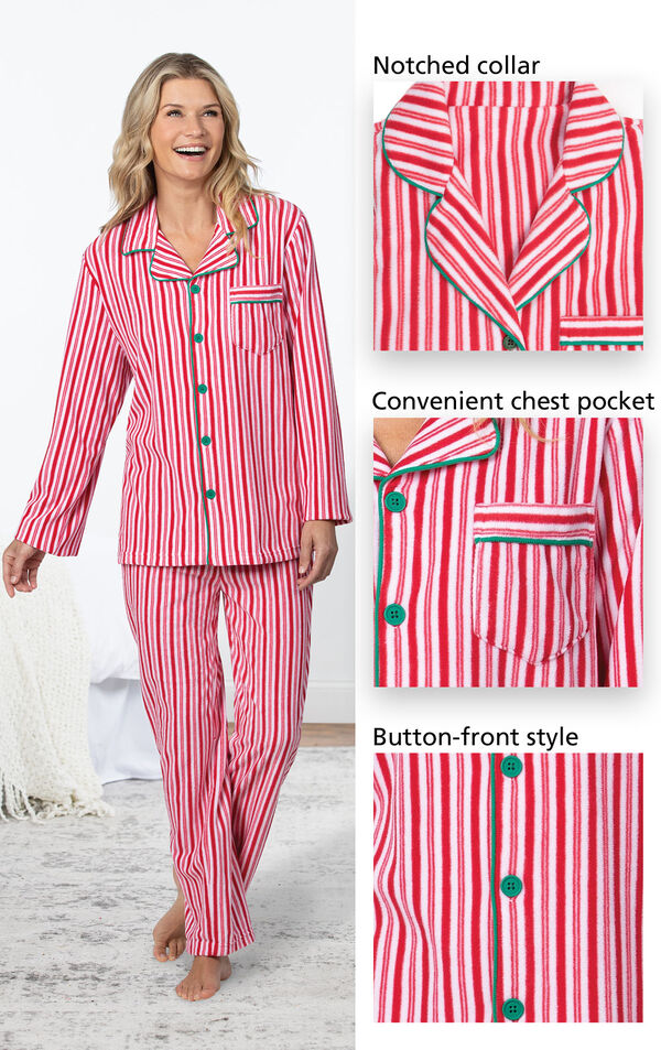 Candy Cane Fleece Women's Pajamas have a notched collar, convenient chest pocket and button-front style image number 2