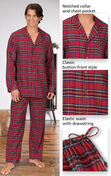 Close-ups of the features of Stewart Plaid Flannel Men's Pajamas which include a notched collar and chest pocket, classic button-front style and elastic waist with drawstring image number 3