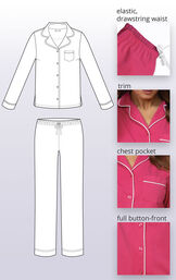 Solid jersey boyfriend pajamas feature an elastic drawstring waist, trim chest pock and full button-front image number 3
