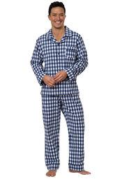 Model wearing Blue Gingham Button-Front PJ for Men image number 1