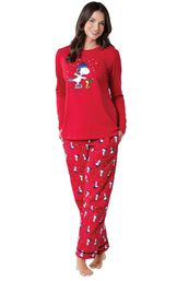 Model wearing Red Snoopy and Woodstock PJ for Women