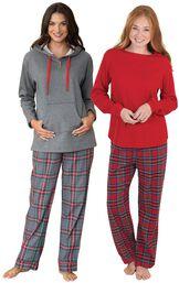 Models wearing Gray Plaid Hooded  Pajamas and Stewart Plaid Thermal-Top  Pajamas. image number 0