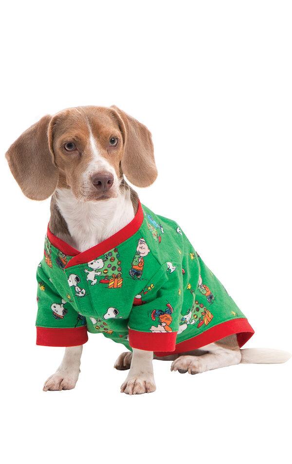 Model wearing Green Charlie Brown Christmas PJ - Pet image number 0
