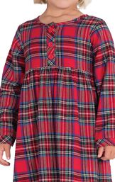 Close-up of Classic Red Plaid Flannel Toddler Nighty image number 3