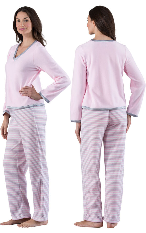 Model wearing Light Pink Stripe Fleece PJ for Women, facing away from the camera and then to the side image number 1