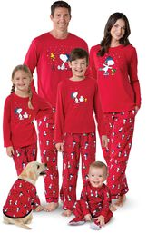Models wearing Red Snoopy and Woodstock Matching Family Pajamas image number 0