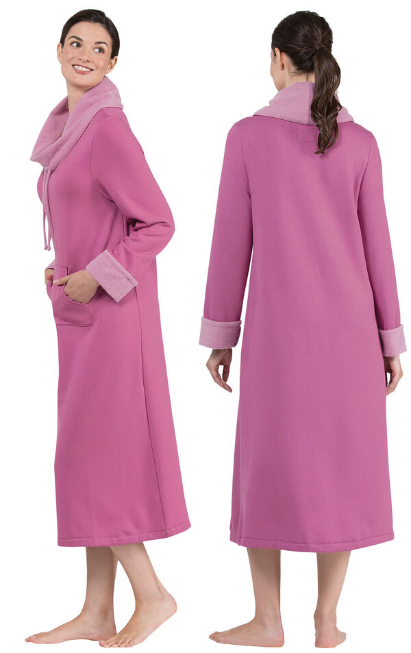 Model wearing World's Softest Raspberry Cowl-Neck Gown for Women, facing away from the camera and then to the side image number 1