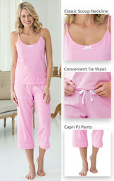 Close-ups of the features of Oh-So-Soft Pin Dot Capri Pajamas - Pink which include a classic scoop neckline, convenient tie waist and capri PJ Pants image number 2