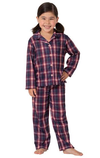Button-Front Girls Pajamas - Plum Plaid