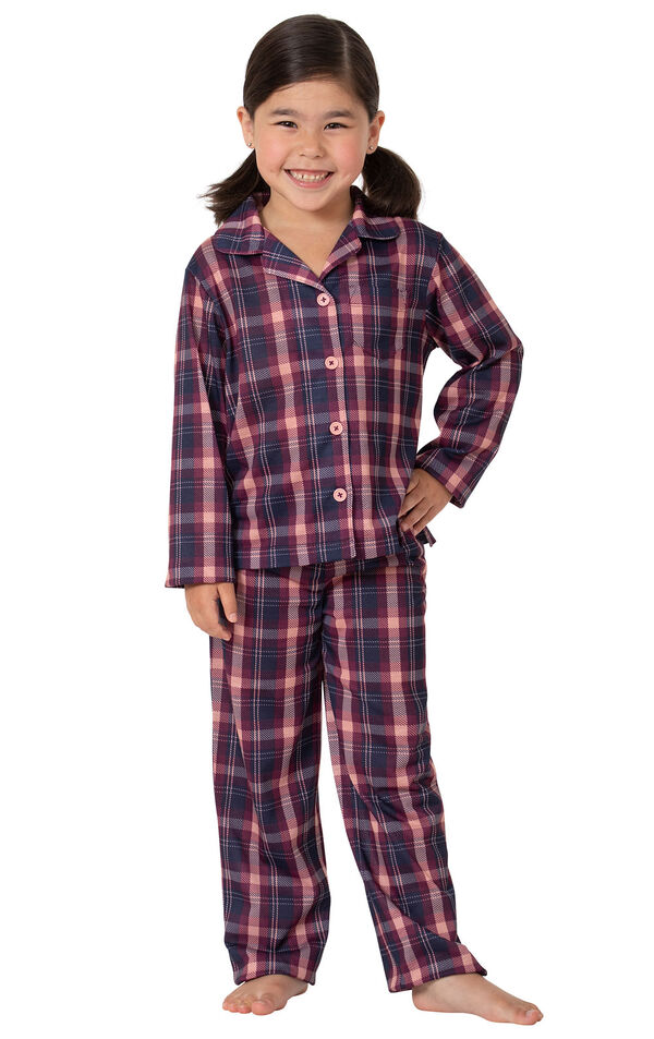 Model wearing Plum Plaid Button-Front PJ for Youth image number 0