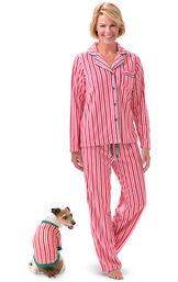 Models wearing Candy Cane Stripe Fleece PJ for Pet and Owner image number 0