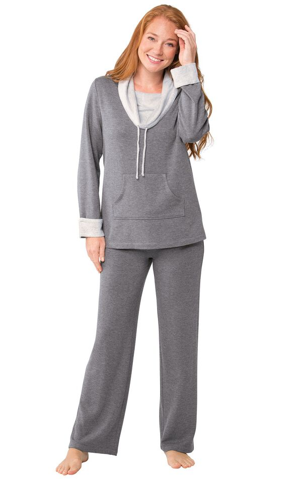 Model wearing World's Softest Gray Cowl-Neck Pajama Set for Women image number 2