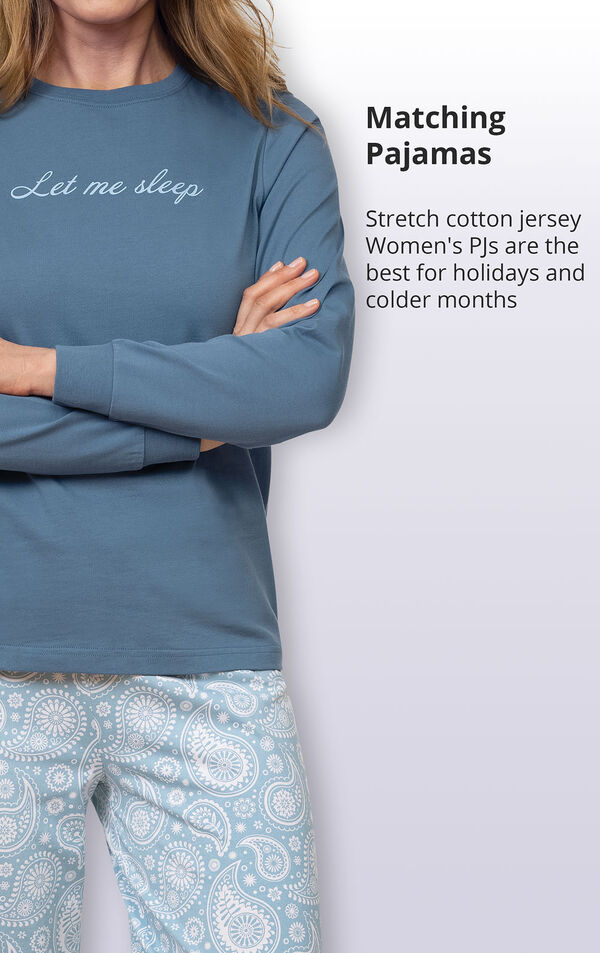 Stretch cotton jersey women's PJs are the best for holidays and colder months image number 3