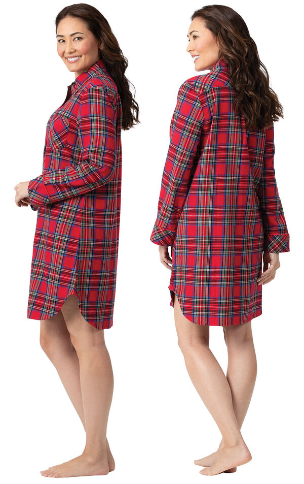 Model wearing Classic Red Steward Plaid mid-thigh length sleepshirt, facing away from the camera and then facing to the side image number 1
