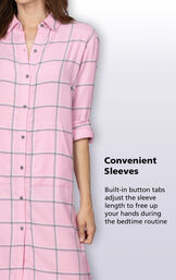 Built-in button tabs adjust the sleeve length to free up your hands during the bedtime routine image number 4