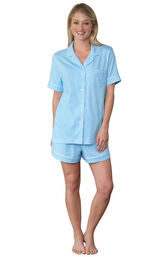 Model wearing Blue Pin Dot Short Set for Women image number 0
