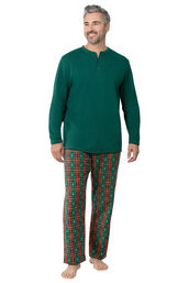 Model wearing Red and Green Christmas Tree Plaid Thermal Top PJ for Men image number 0