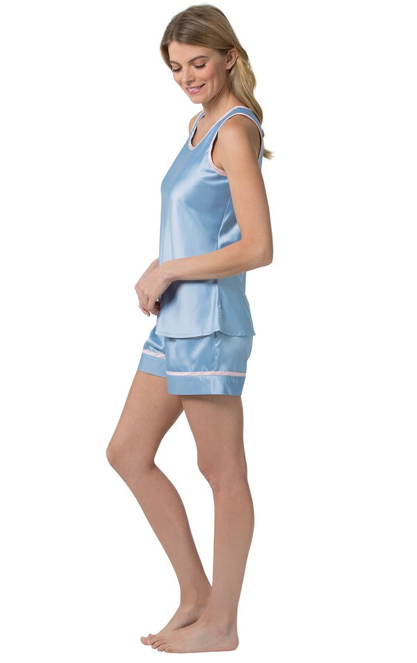 Model standing to the side wearing Light Blue with Pink Trim Dreamy Satin Short Set image number 2