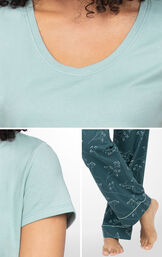 Green Floral Short-Sleeve PJs feature Full-length pants, a rounded v-neck and short sleeves image number 3