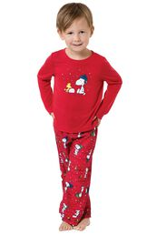 Model wearing Red Snoopy and Woodstock PJ for Toddlers