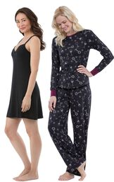Models wearing Naturally Nude Chemise - Solid Black and Wine Down Pajamas.
