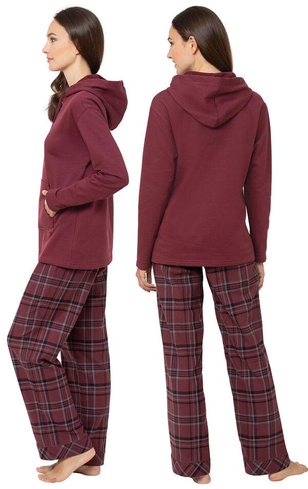 Burgundy Plaid Hooded Women's Pajamas image number 1