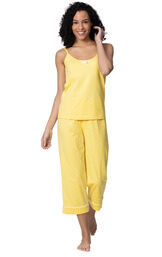 Model wearing Yellow and White Polka Dot Cami PJ for Women image number 2