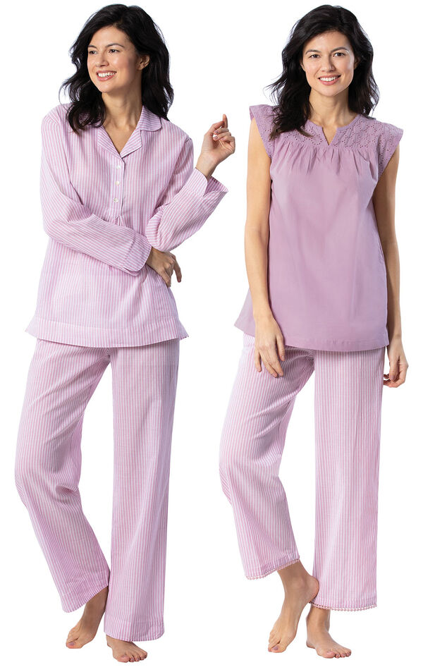Models wearing Addison Meadow Summer Pullover PJs - Mauve Stripe and Addison Meadow Summer Capris - Mauve Stripe image number 0