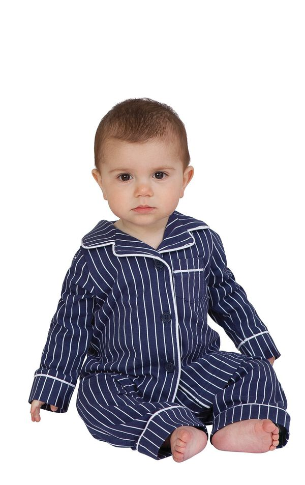 Model wearing Navy Blue and White Stripe Button-Front PJ for Infants image number 0