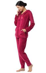 Model wearing Zip Front Red fleece Hoodie Pajamas image number 0