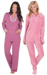 Models wearing World's Softest Pajamas - Raspberry and Hoodie-Footie - Pink.