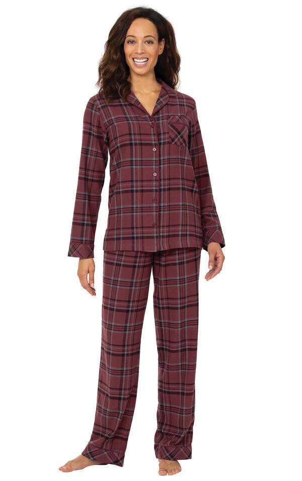 Burgundy Plaid Boyfriend Flannel Pajamas image number 0